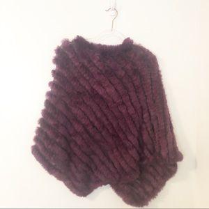 La Fiorentina Purple Fur Knit Shawl Cape Poncho